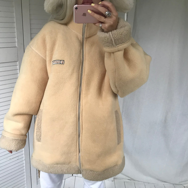 Vintage 90s 00s Honeycomb Cream Thick Fleece Zip Up Jacket