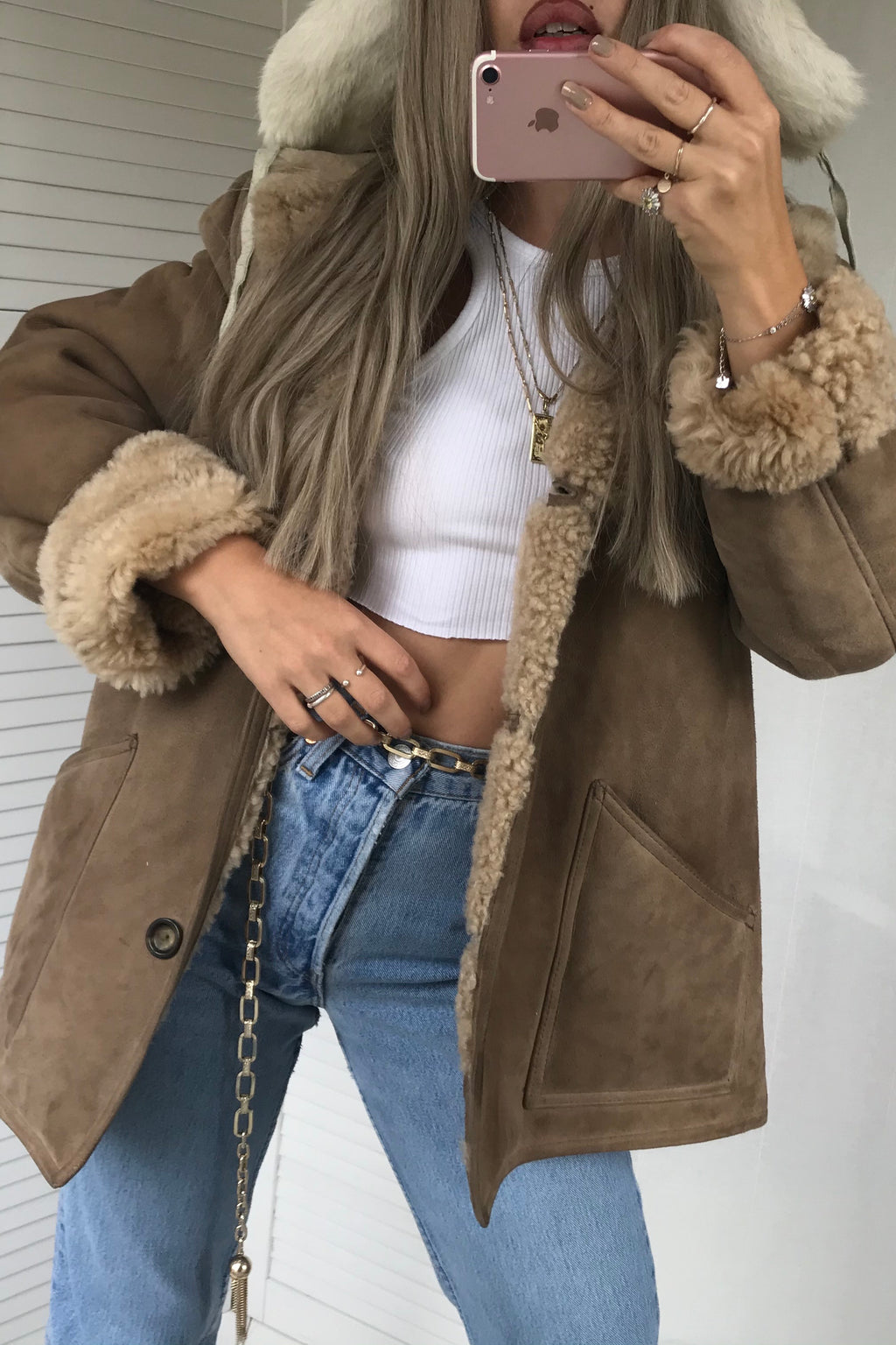 Such a gorgeous Vintage 70s 100% Real Suede Light Tan Shearling Sheepskin Jacket