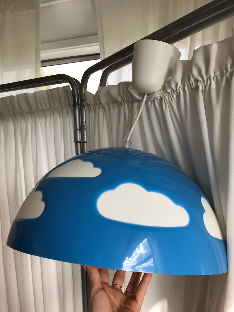 Iconic Rare Discontinued Ikea Blue Plastic Cloud Ceiling Light