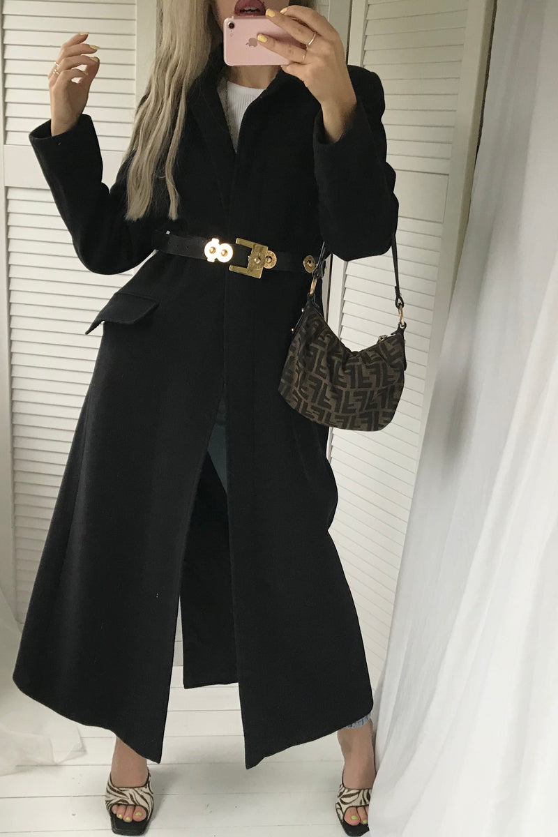 The most incredible Vintage 90s Y2K Real Wool Long Black Jacket