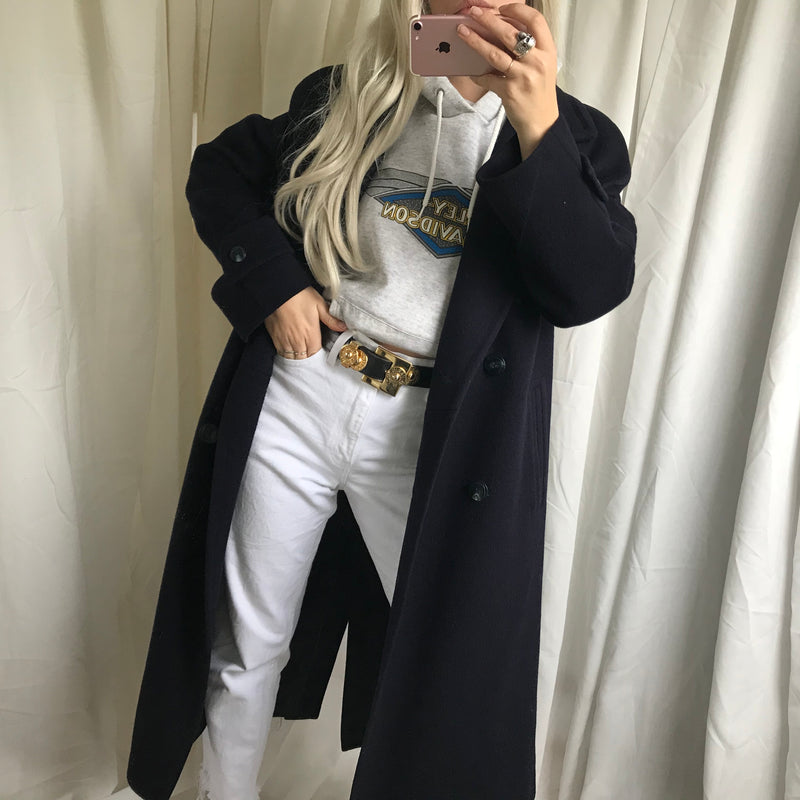 Vintage 80s/90s Navy Pure Wool Long Trench Overcoat