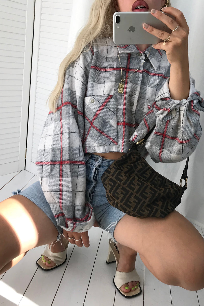 Vintage 80s 'Old Kentucky' Thick Cotton Blend Grey Oversized Checked Tartan Cropped Shirt