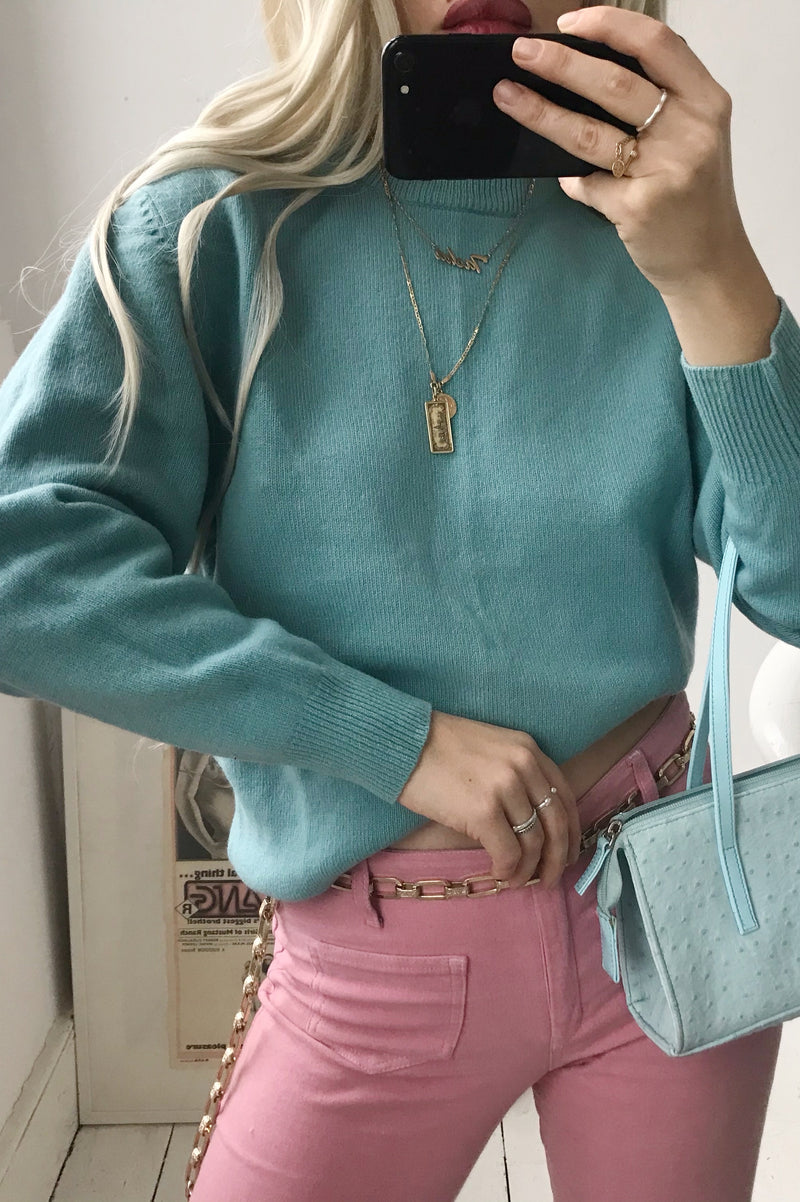 Vintage 70s Pure New Wool Turquoise Blue Jumper
