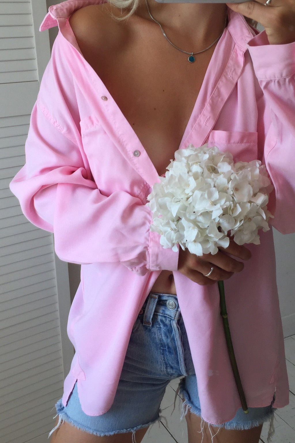 Vintage 90s Baby Pink Real Cotton Shirt