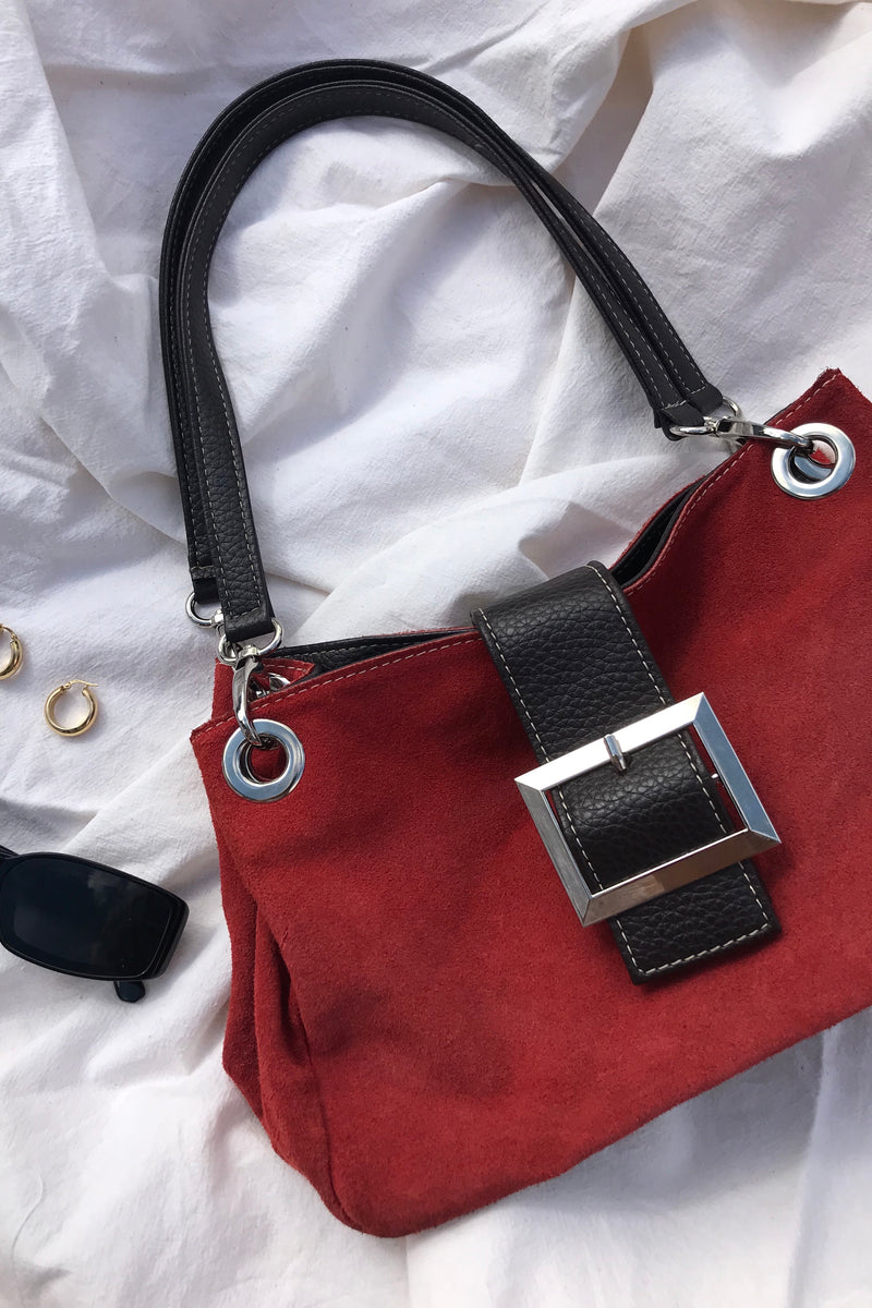 Vintage 90s Y2K Red Real Suede Leather Handbag With Silver Buckle
