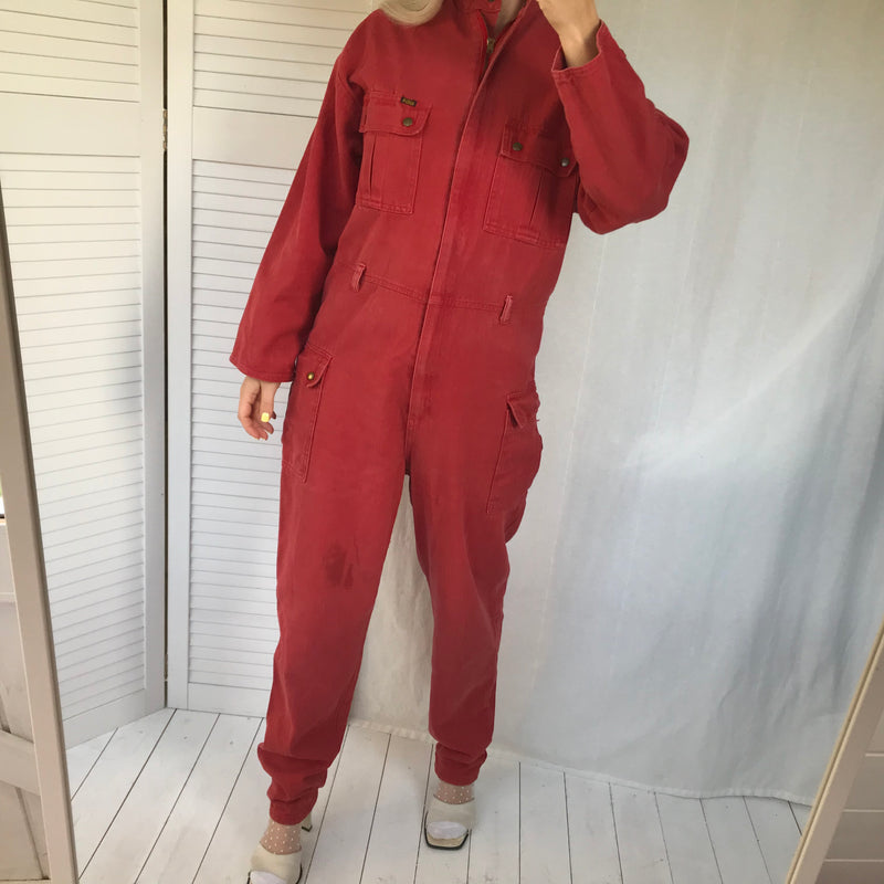 Super Rare Vintage 1970s Red Thick Cotton Jumpsuit /Boiler-Suit By BIBA