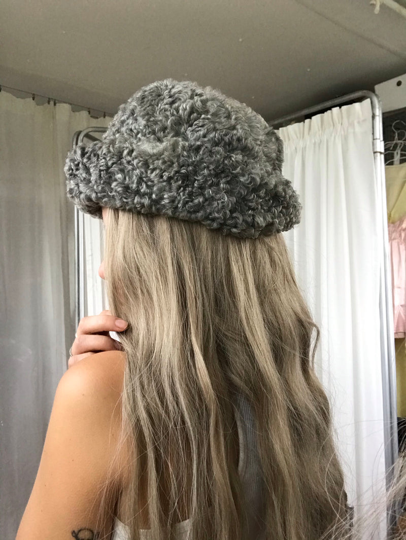 Vintage 1950s Grey Karakul Real Sheepskin Fur Hat