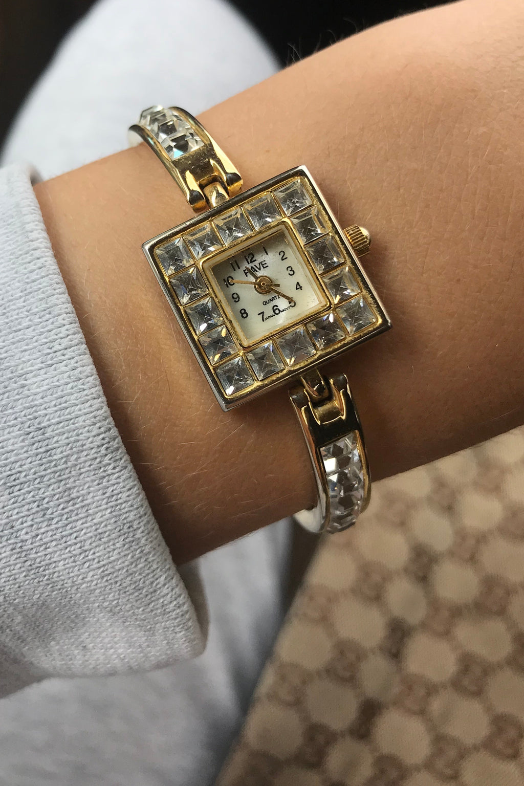 Vintage 1990s Gold Tone Ladies Quartz Wrist Watch With Gold Tone Link Strap  - By Rave