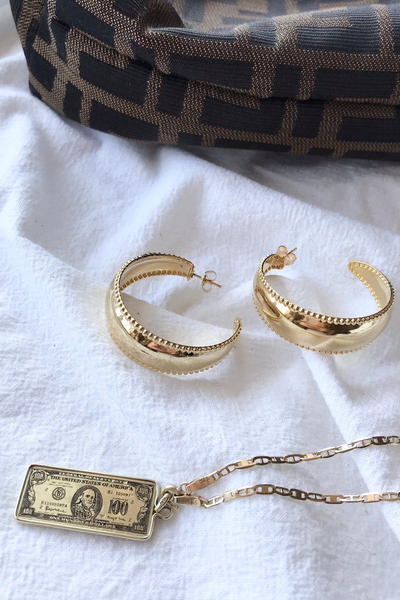 Deadstock vintage y2k oversized statement gold tone hoop earrings
