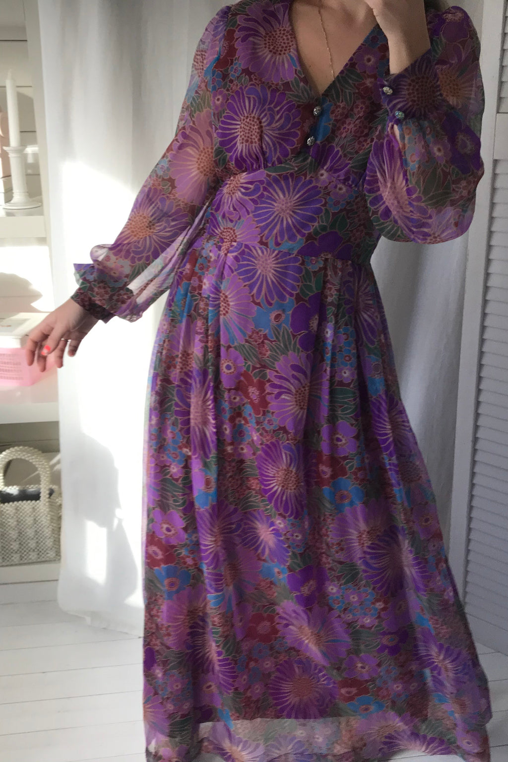 Vintage 70s Long Sheer Purple Floral Organza Floor Length Prairie Dress
