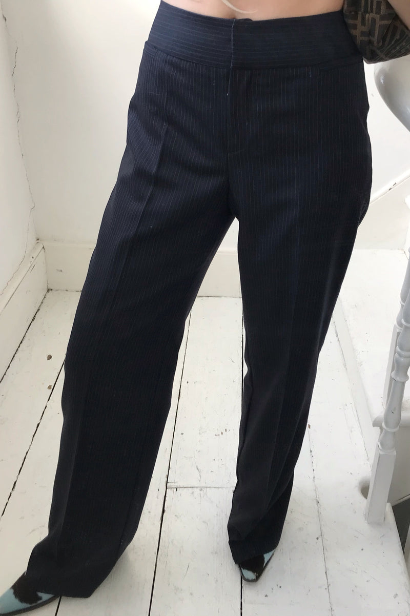 Vintage True 90s Black Real Wool Pinstriped Blazer & Trousers Suit Set