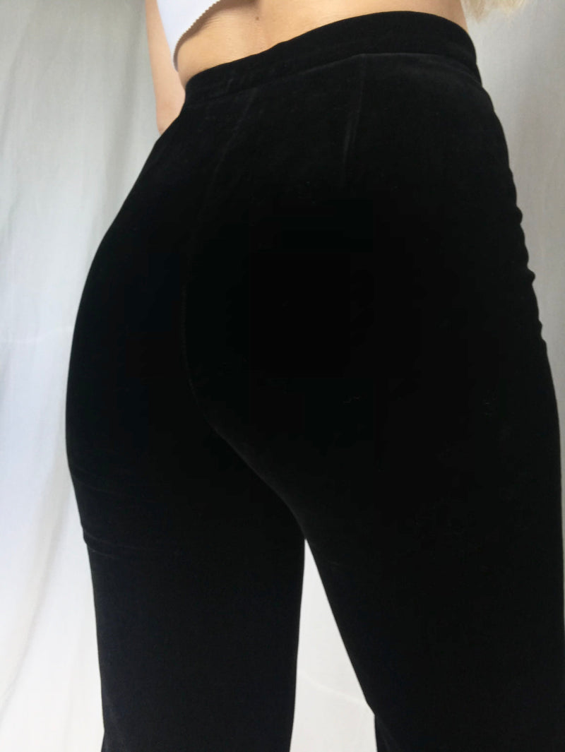 Vintage 1970s Super Highwaisted Black Velvet Trousers By Jaeger