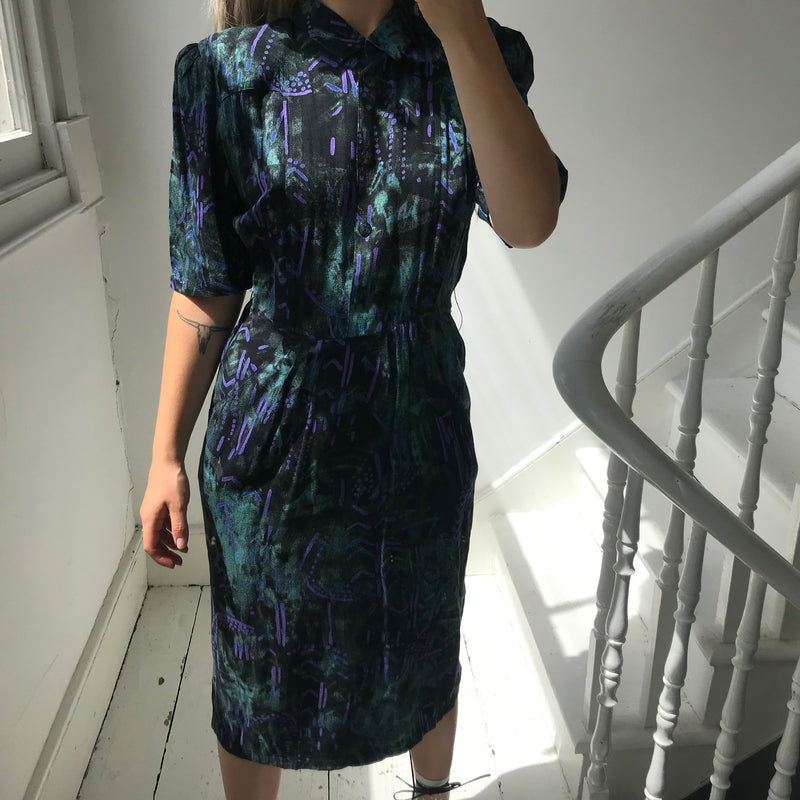 Vintage True 80s Green, Purple & Black Abstract Print Button Down Midi Dress