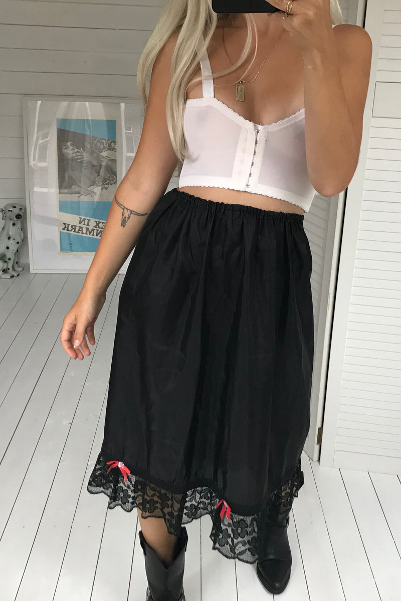 Vintage 70s Black Satin Slip Skirt With Lace Trim & Red Bows