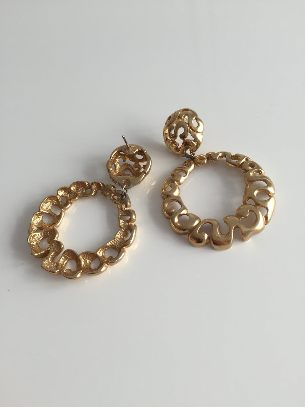 Vintage 80s Gold Tone Dangle Drop Hoop Earrings