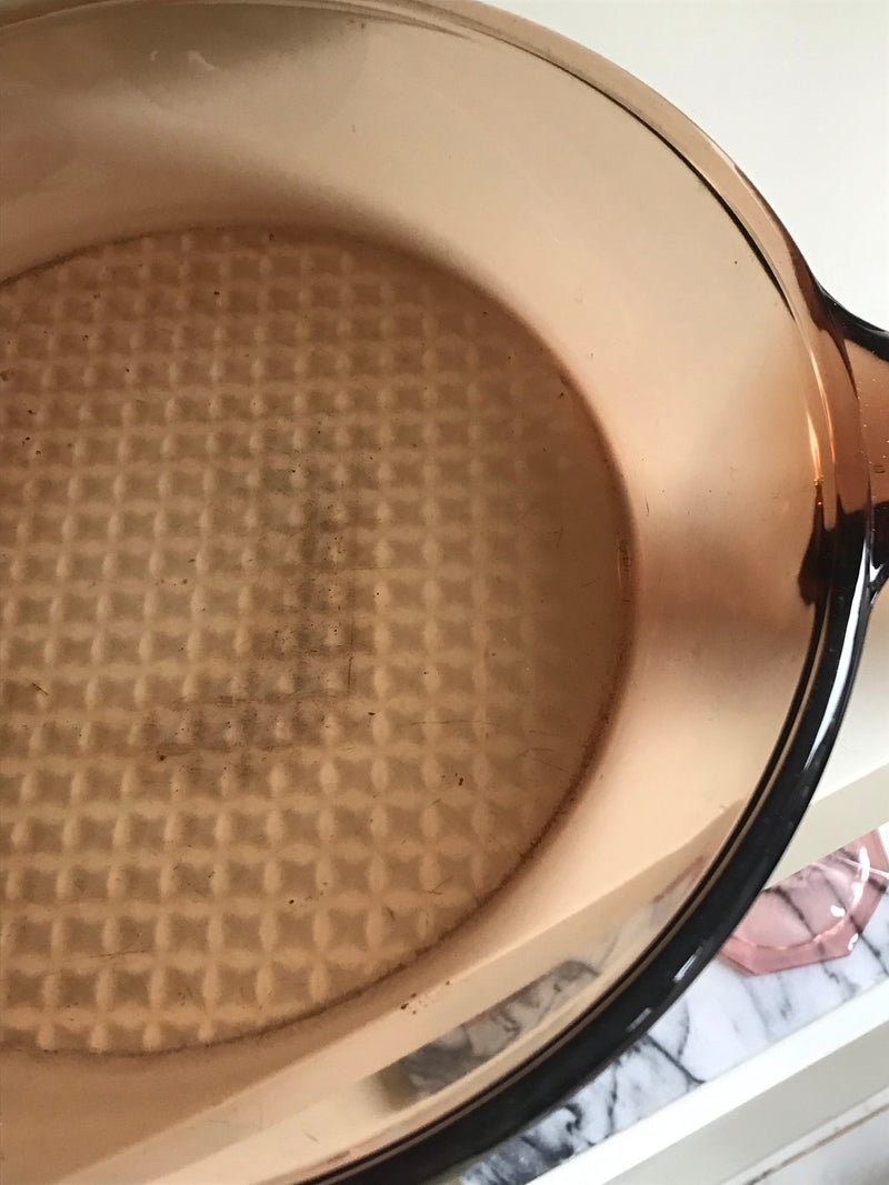 Vintage 1970s Waffled Brown Smoked Glass Skillet Frying Pan