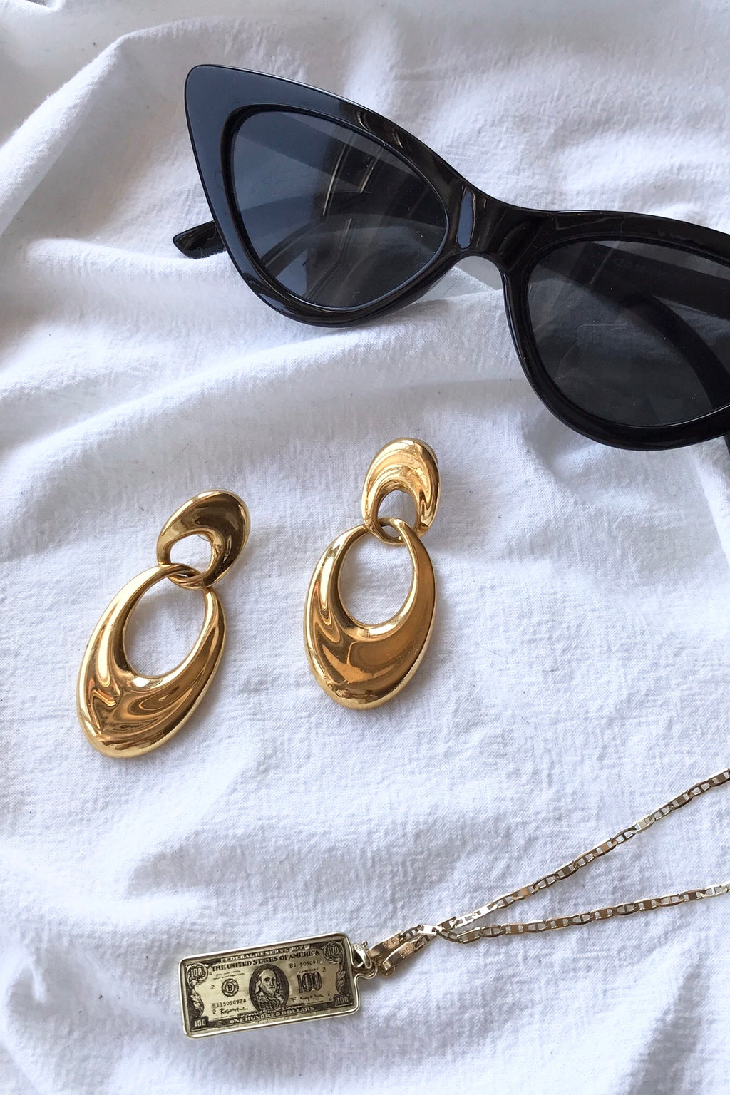 Vintage 80s Statement Gold Tone Door Knocker Earrings