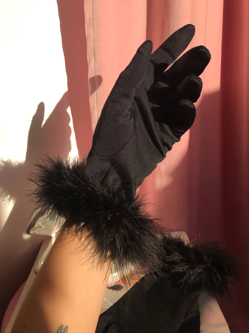 Vintage 90s Black Gloves With Marabou Feather Trim