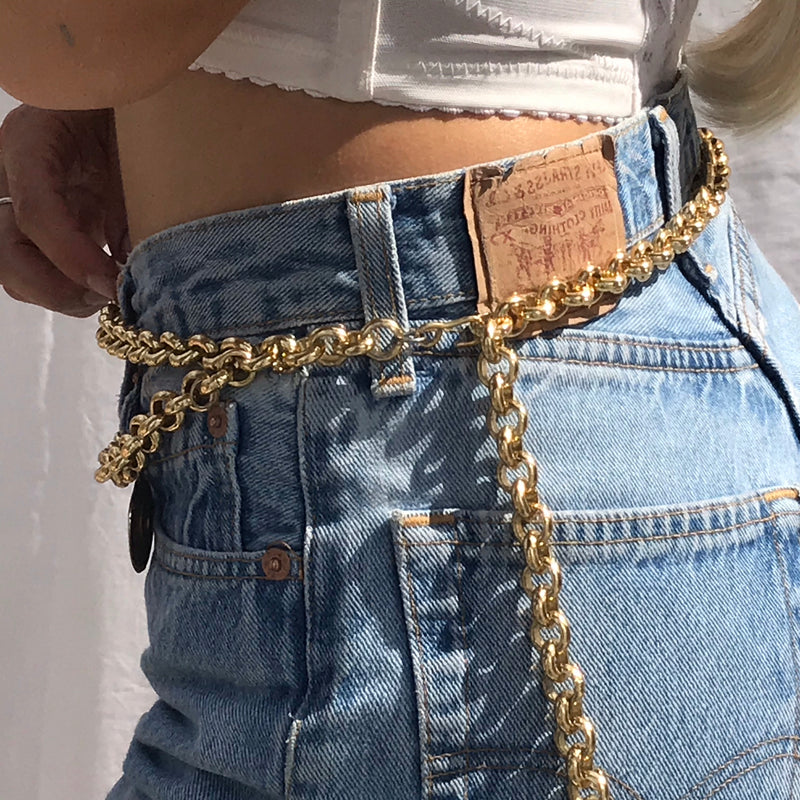 Vintage 80s 'Versace style' Gold Chunky Double Chain Coin Belt