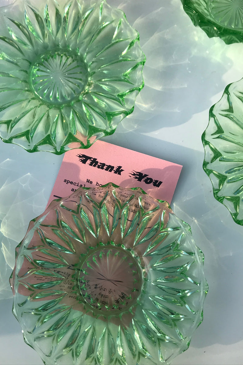 Vintage 1960s Green Uranium Style Cut Glass Side Plates (5 Pieces) & Mini Bowl Set