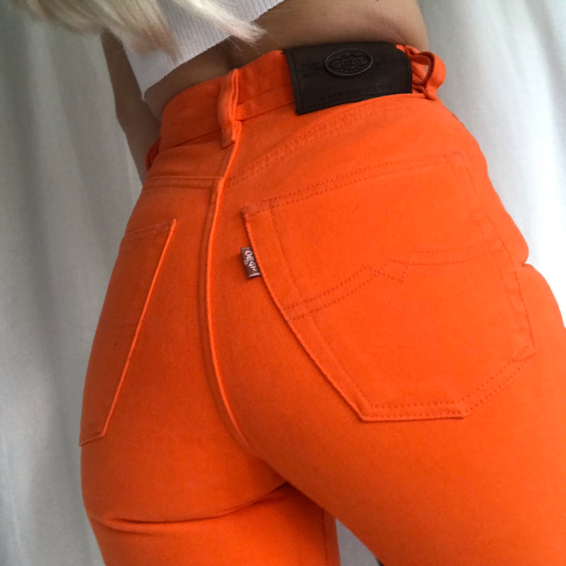 Vintage 90s High Waisted Neon Orange Super Flattering Slim Fit Jeans W24