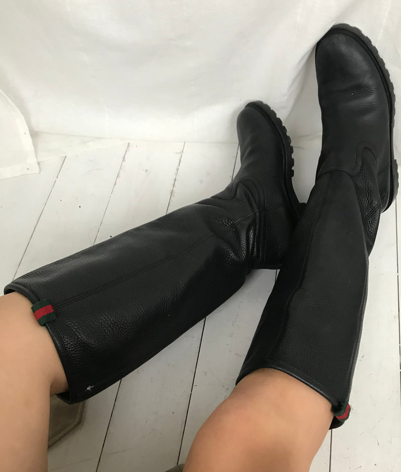 Black Real Leather Knee High Boots By Gucci