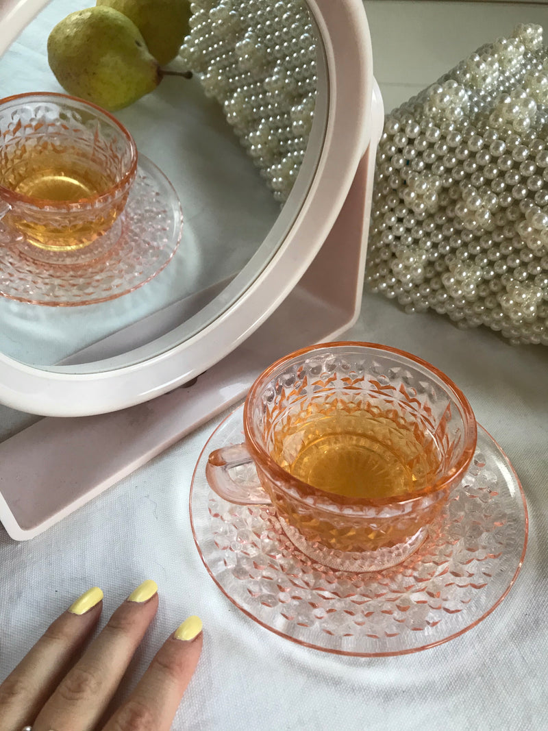 Vintage 1950s Peach Cut Glass Cup & Saucer Set Of 4