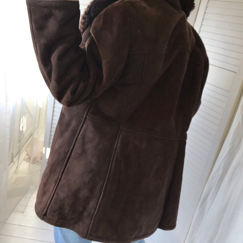 Vintage 1970s Dark Chocolate Brown Suede Fleece Lined Jacket With Real Shearling Sheepskin Collar