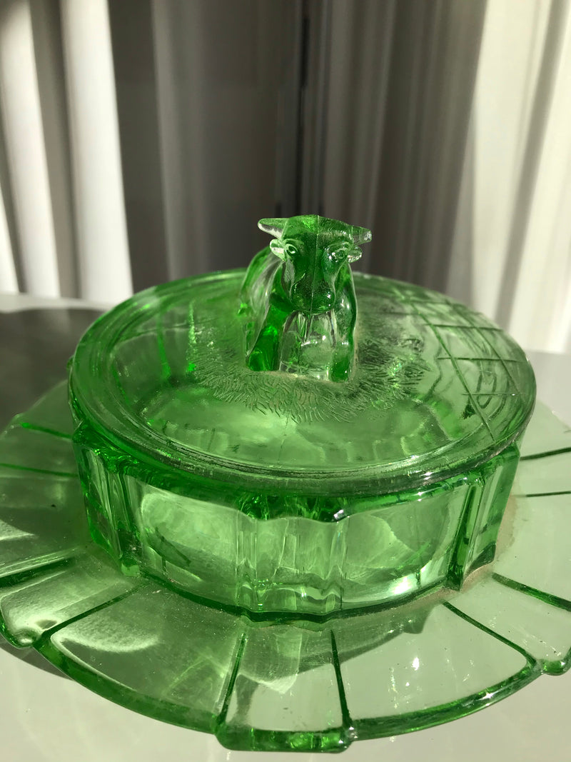 Vintage 1960s Uranium Neon Green Depression Glass Cow Butter Dish