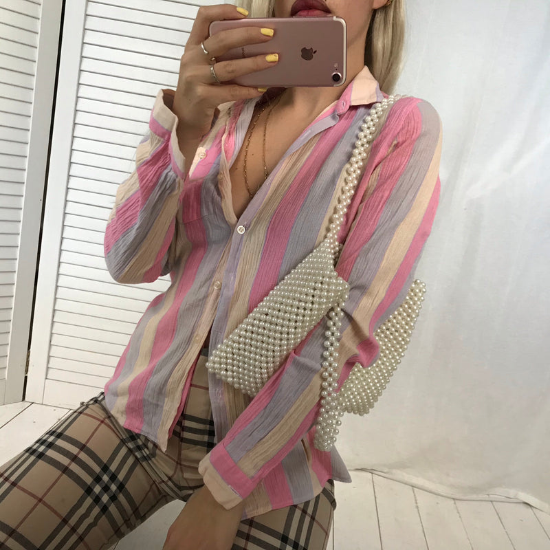 Vintage 70s Pastel Striped Crinkle Effect Blouse