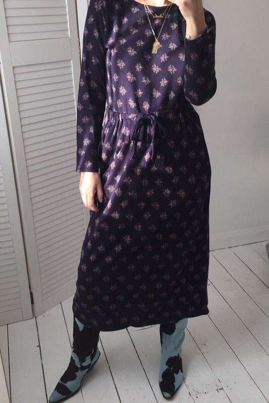 Vintage 90s Laura Ashley Dark Purple/Navy Floral Stretchy Two Piece Set
