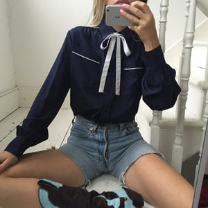 Vintage 70s Navy Blue Western Blouse With White Pussy Bow