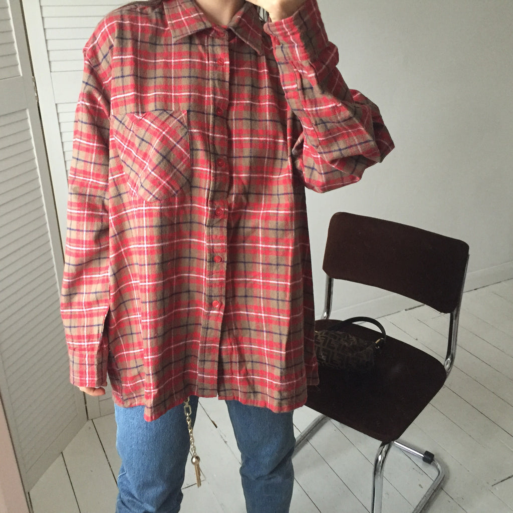 Vintage 90s Red/Orange/Tan Checked Farmer Lumberjack Flannel Shirt