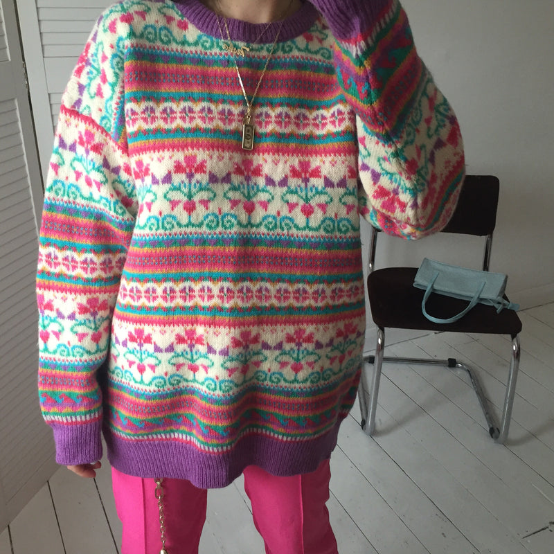 Vintage 90s Colourful Multi Coloured Fair Isle Real Wool Jumper
