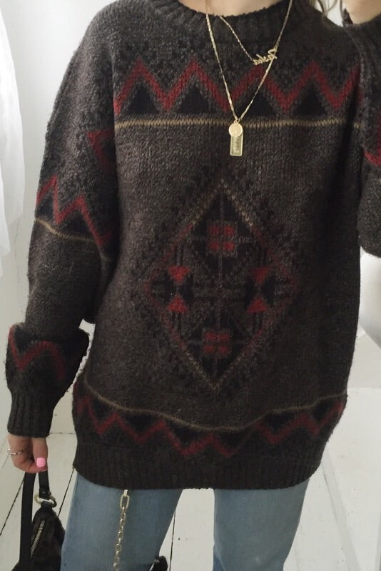 Vintage 1980s Brown Fair Isle Abstract Aztec Print Knitted Jumper