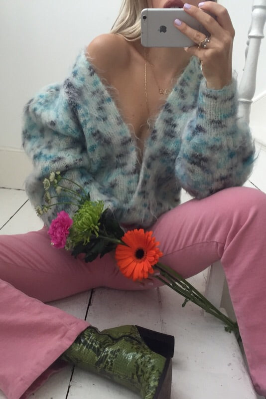 Vintage 1980s Light Blue Specked Mohair Fluffy Shaggy Hand Knitted Cardigan