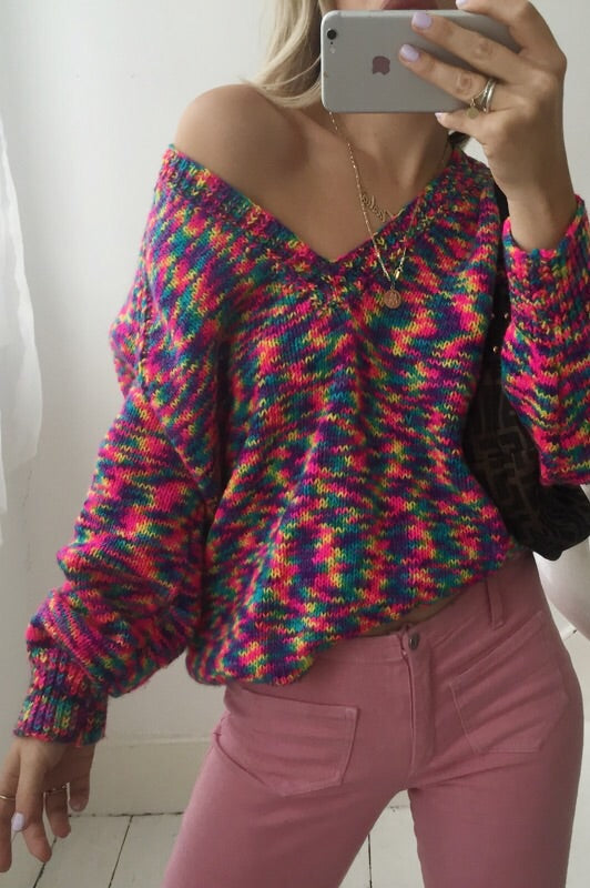 Vintage 1990s Multicoloured Hand Knitted V-Neck Wool Blend Jumper