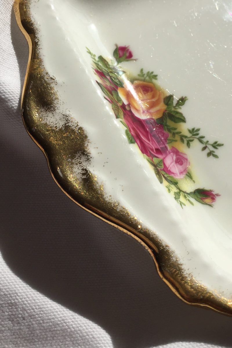Vintage 1960s Royal Albert White Bone China Serving Dish Decorated With Gold & Florals