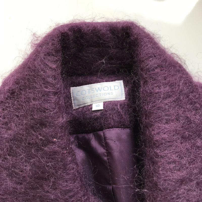 Vintage 90s Maroon Purple Fluffy Mohair Wool Blazer Jacket