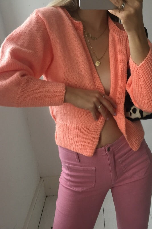 Vintage 1970s Peach Wool Blend Hand Knitted Cardigan