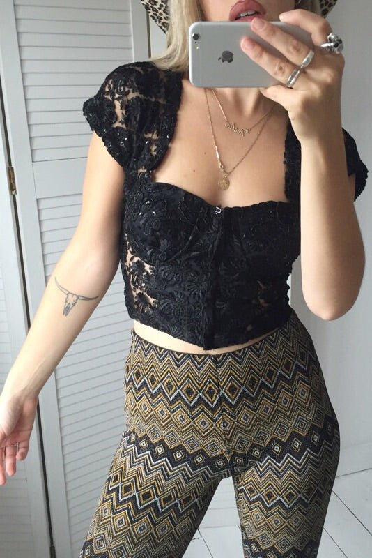 Vintage Y2K Black Sequin Bustier Crop Top