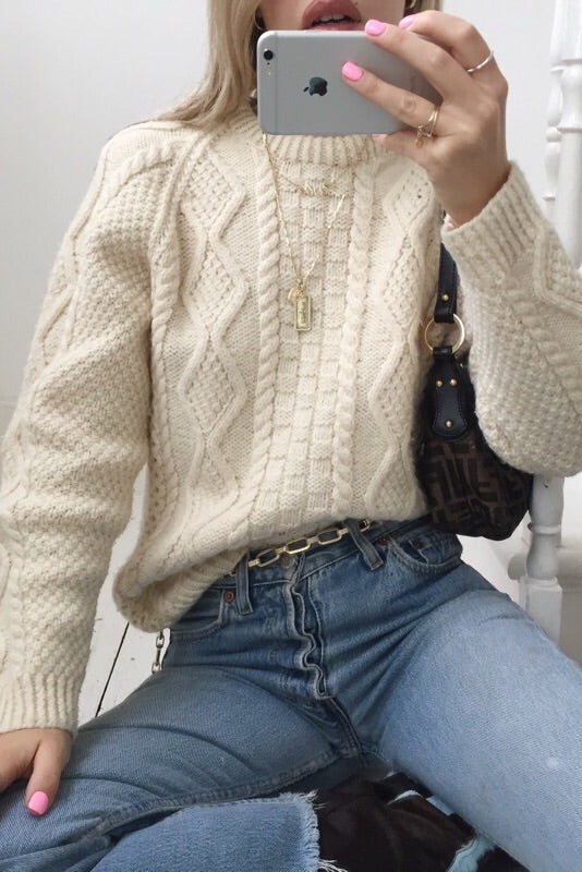 Vintage 1970s Cream Wool Hand Knit Jumper