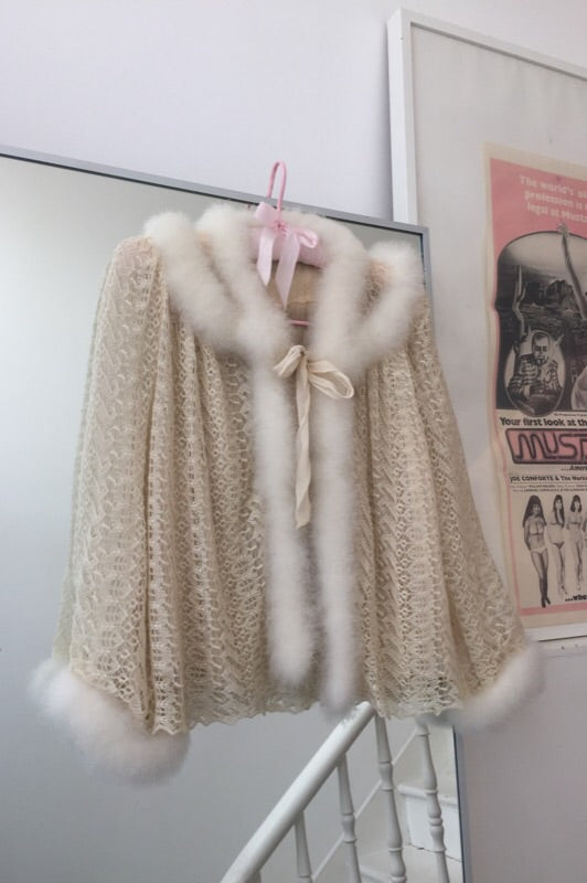 Rare Vintage 1950s Feather Trim Cream Crochet Bed Jacket Cardigan