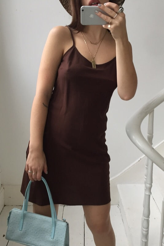 Vintage 90s Brown Slightly Sheer Slip Dress
