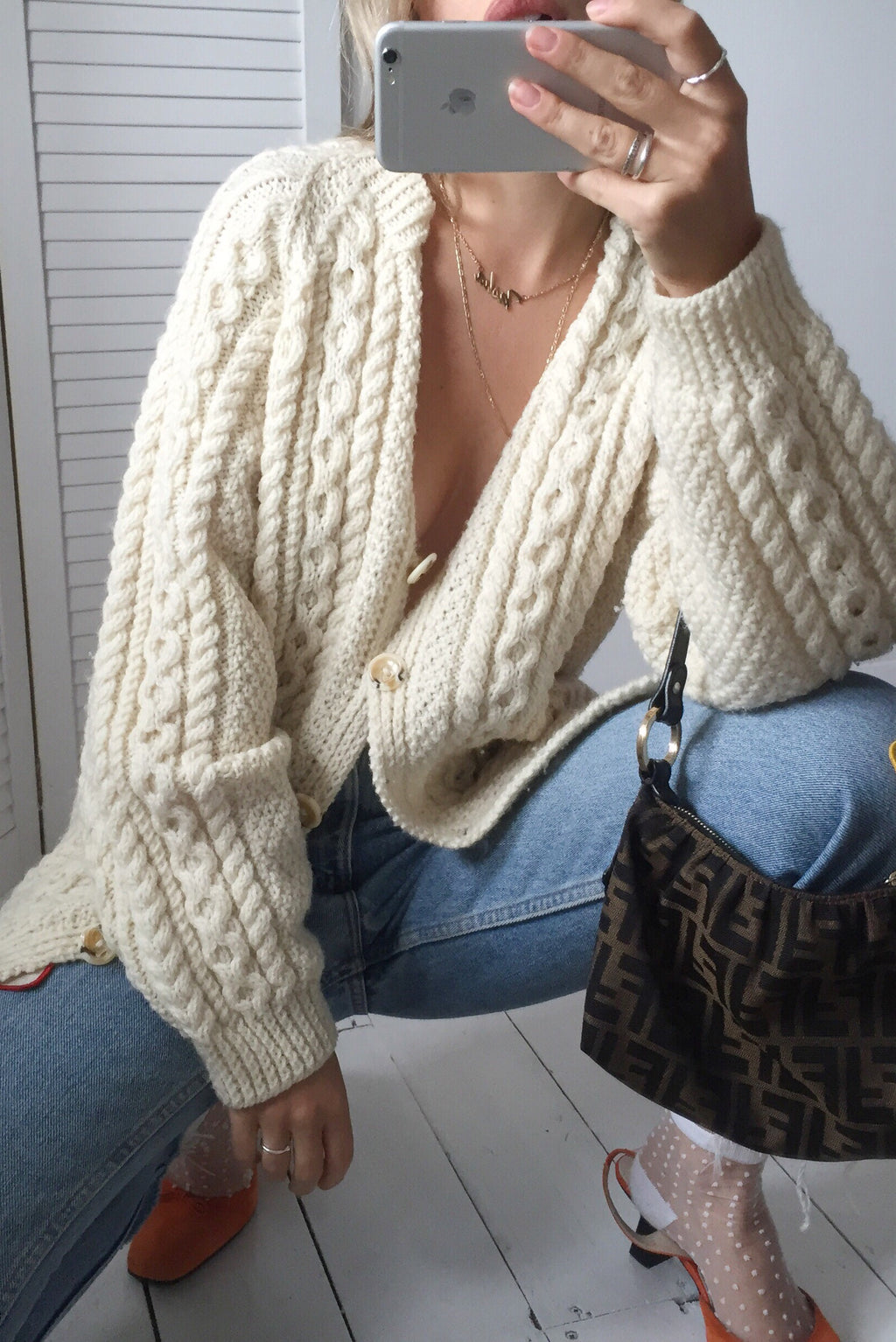 Vintage 70s Wool Cable Knit Cream Knitted Cardigan