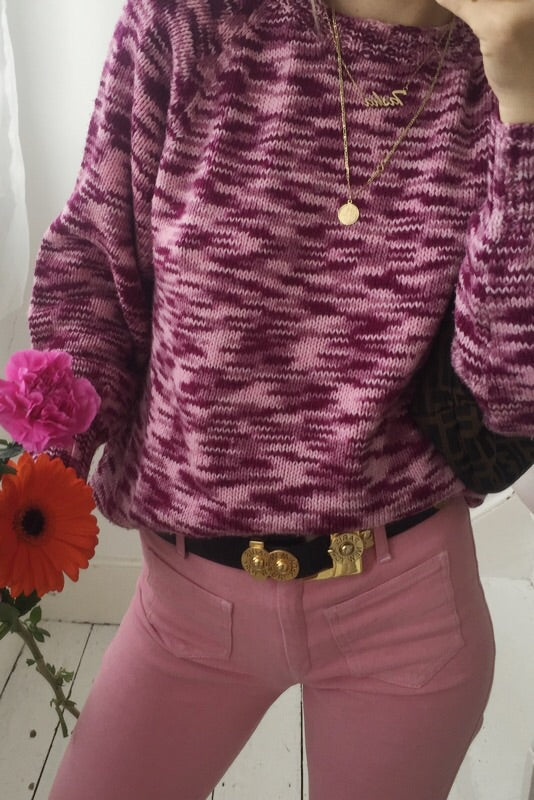 Vintage 1970s Purple Wool Blend Hand Knitted Jumper