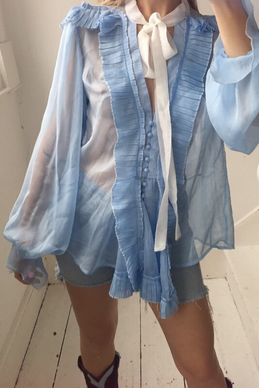 Vintage Y2K Baby Blue Pleated Ruffle Trim Sheer  Blouse with Tie Up Front