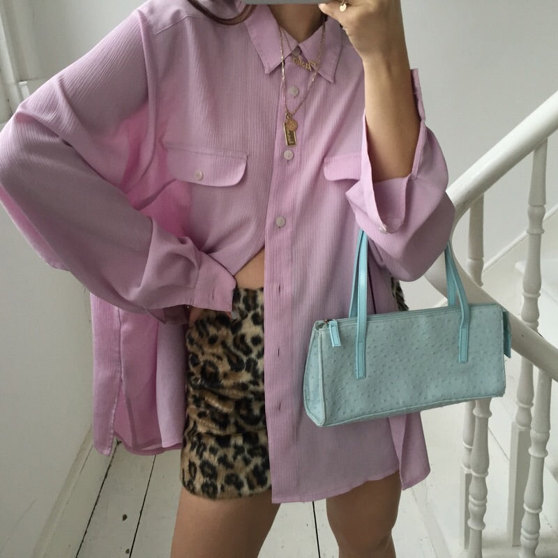Vintage 80s Lilac Light Purple Oversized Blouse