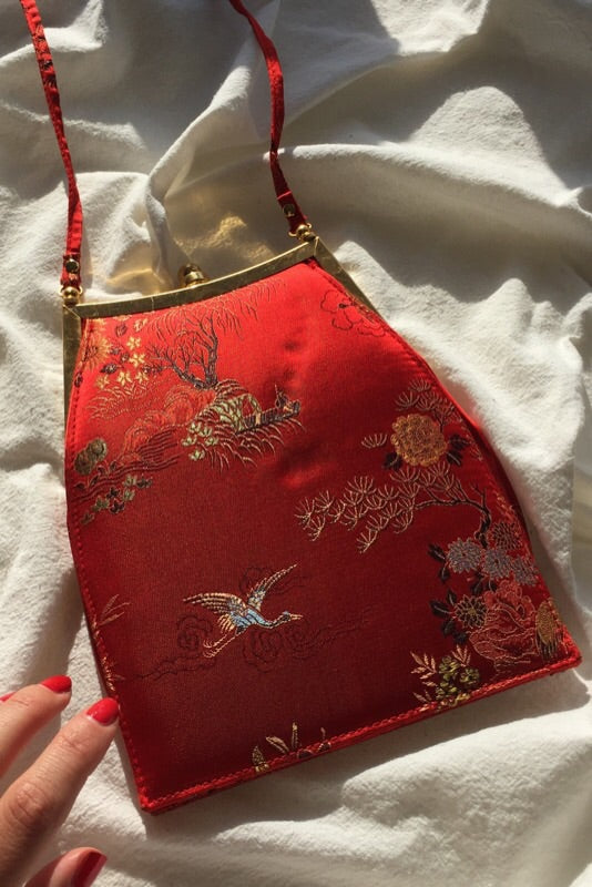 Vintage 90s Red Satin Japanese Style Mini Handbag