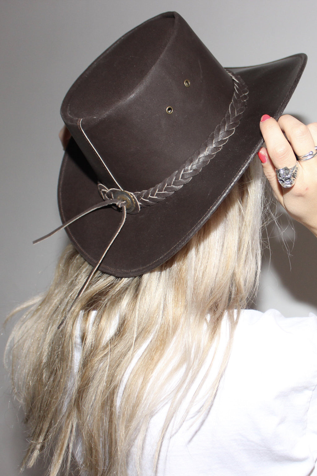 Vintage 90s Brown Leather Australian Cowboy Hat